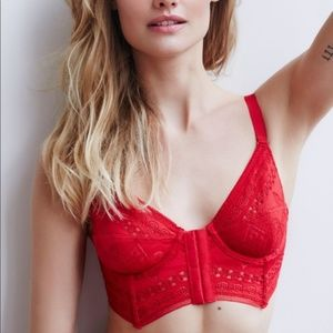 Free People Women's Red White Out Bustier Lace